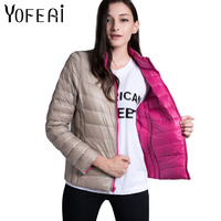 YOFEAI 2017 Women Jacket Autumn Winter Reversible Jackets Fashion Down Jacket Casual Warm Duck Down Coat