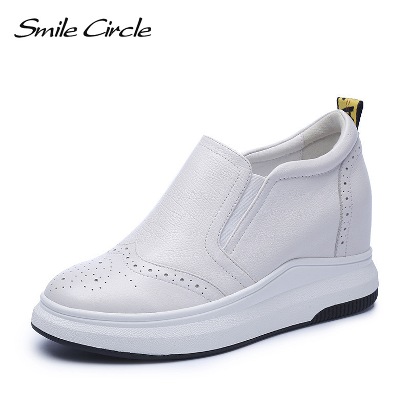 Smile Circle Wedges Sneakers Women Genuine Leather Casual Shoes Women Fashion High heel Platform Shoes 2018