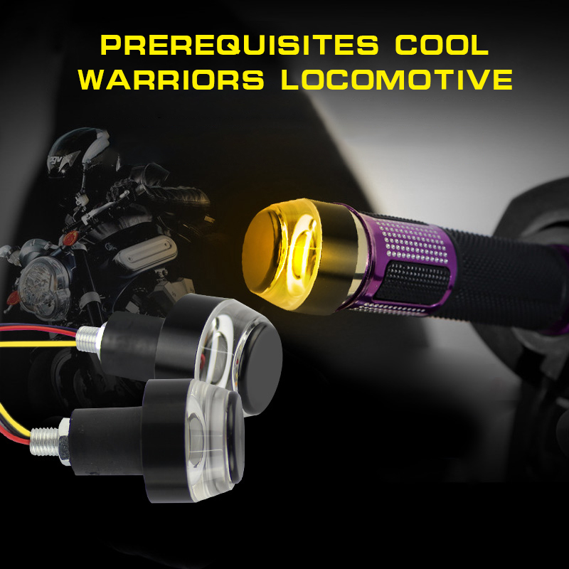 MODERN CAR For 12V Motorcycle 7 8 quot 22mm Handlebar LED Turn Signal Light Amber White CNC Motor Handle Bar End Grip Plug Lights