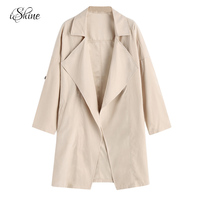 Irregular Turn Down Collar Women Fashion Long Trench Coats Female Autumn Pocket Thin Oversized Cardigans Splicing