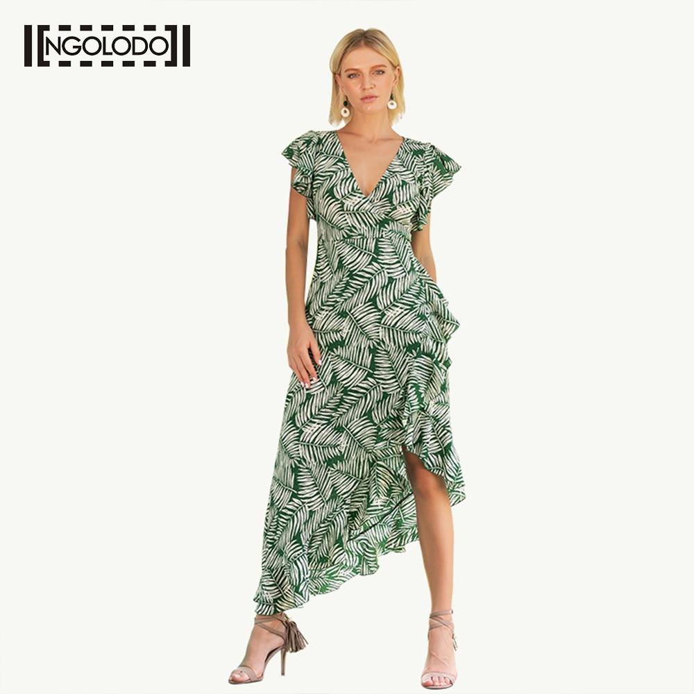 Ngolodo Summer Short Sleeve Green Print Ruffle Wrap Dress