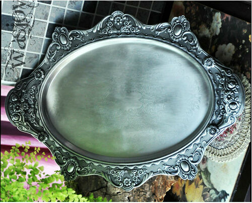 46*34cm retro floral oval metal serving tray decorative