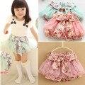 2014 meninas Novas culottes calções saia pastoral floral lace gauze tutu véu grande arco roupas roupa dos miúdos das crianças varejo