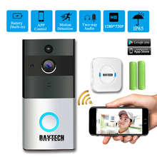 DAYTECH Wireless WiFi Video Doorbell Camera IP Ring Door bell Waterproof Two Way Audio APP Control iOS Android Battery Powered