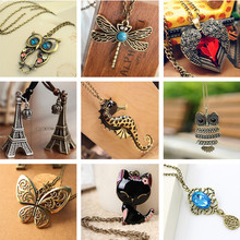 Vintage Necklaces Women Owl Feather Heart Butterfly Cat Pendant Necklace Antique Collares Fashion Jewelry Bijoux One