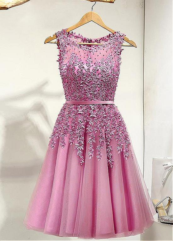 Dusty Pink Lace Tulle Short Prom Cocktail Dresses Knee Length ...
