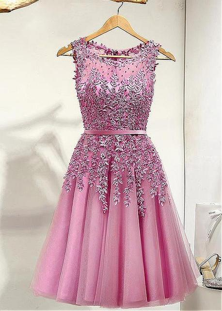 b637c2693ad4 Dusty Pink Lace Tulle Short Prom Cocktail Dresses Knee Length Sleeveless  Beaded Appliques Cocktail Dresses Robe De Cocktail