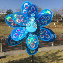 Yard Kids Windmill Garden-Decor Peacock Double-Layer Gift 1pc Toy Laser Sequins Colourful
