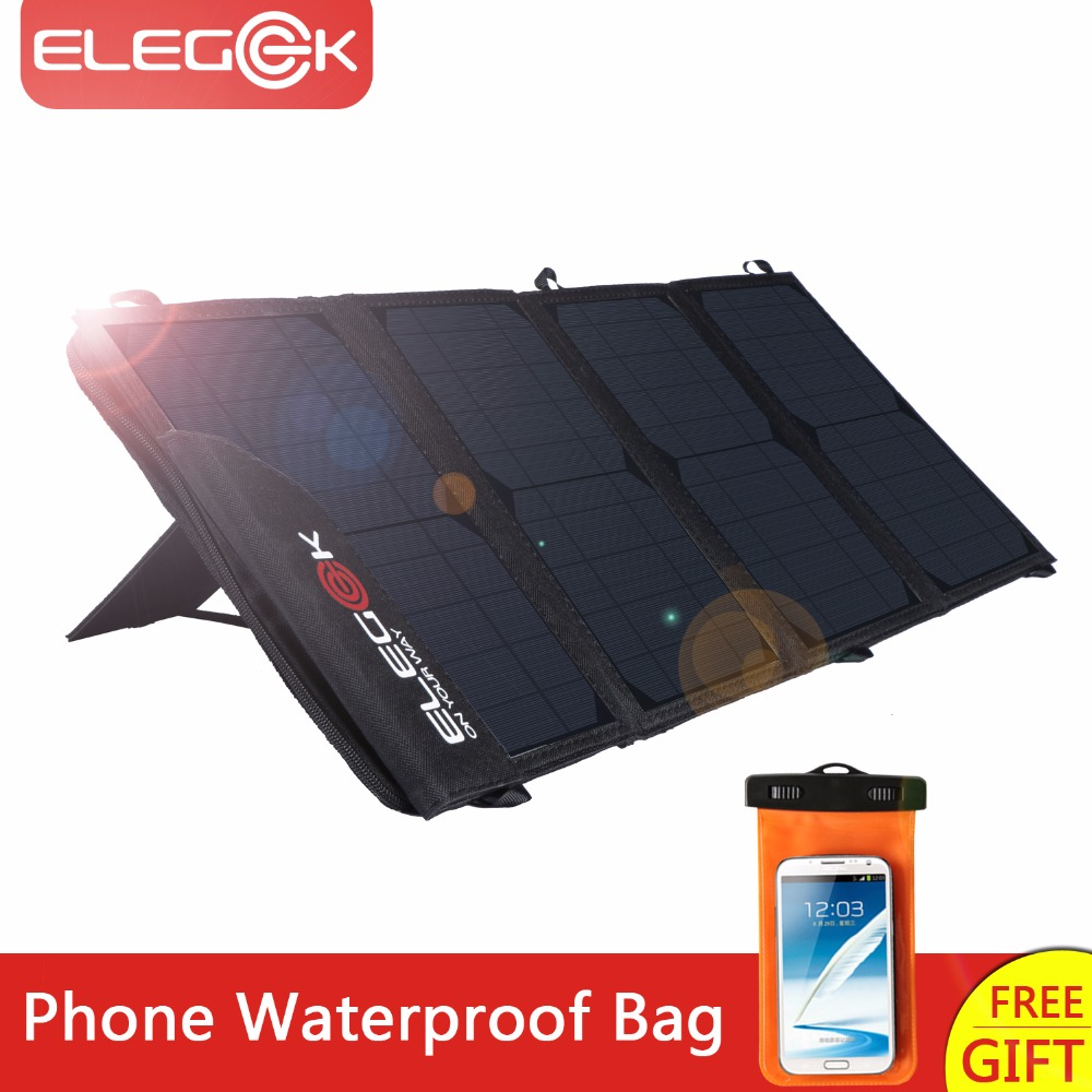 ELEGEEK 22W 5V Portable Solar Panel Charger Dual USB Foldable Solar Panel with Adjustable Stand and
