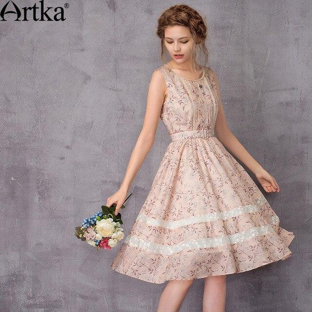 Artka 2017 Sommerkleid Für Frauen Rosa Blumenkleid Weibliche ...