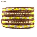2017 new design yellow mixed seed beads leather wrap bracelet