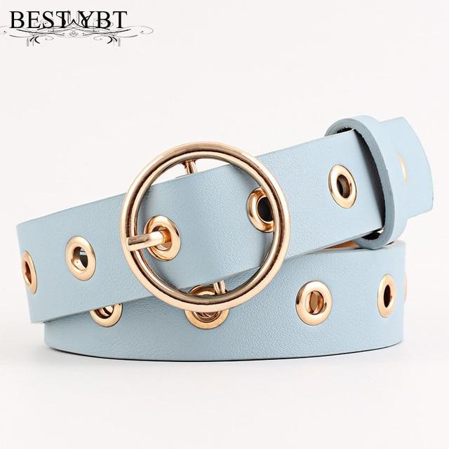 Best YBT Women leather belt  Round Metal pin buckle Circle Belts Hot Brand fashion Punk O Ring for Women belt  5