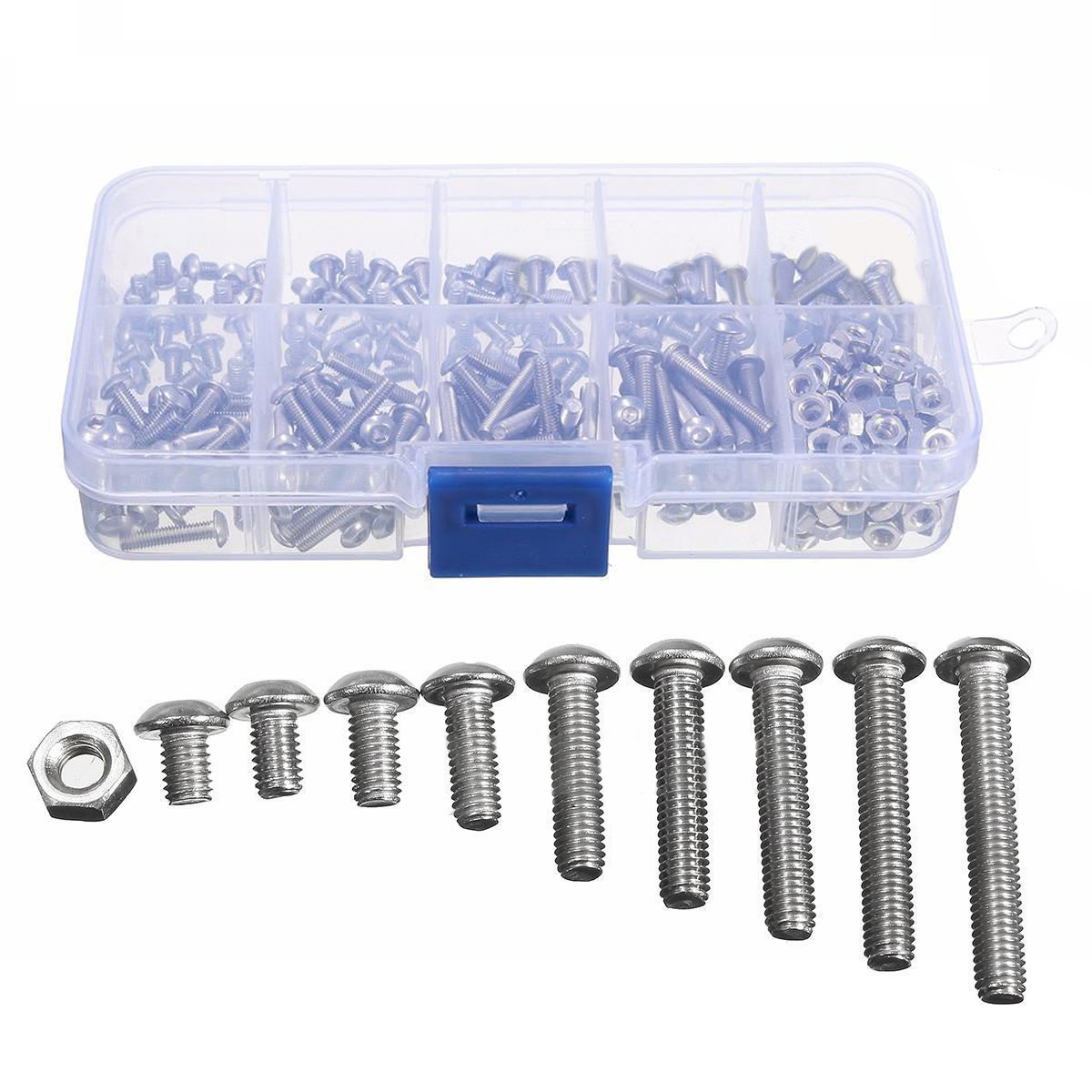 340pcs M3 A2 Hex Screw Set Stainless Steel Nuts Bolt Cap Socket Assortment Kit 125x65x22mm with Case For Hardware Accessories 250pcs set m3 5 6 8 10 12 14 16 20 25mm hex socket head cap screw stainless steel m3 screw accessories kit sample box