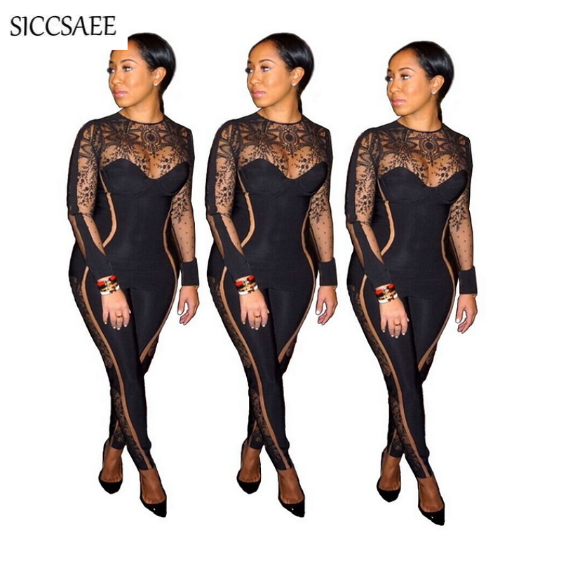 c631528c9d Floral Print Mesh Bandage Jumpsuits For Women 2019 Spring See Through Sexy  Club Wear Bodycon Bodysuit One Piece Back Zip Rompers