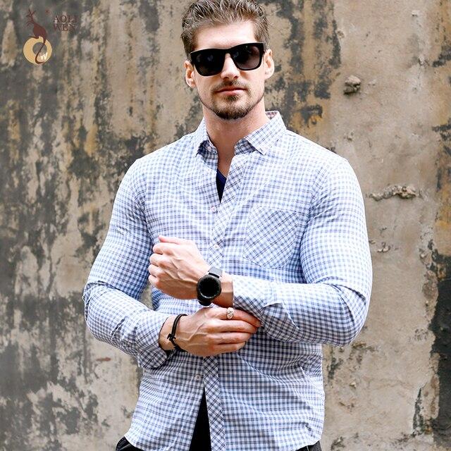 Aoliwen 2018 Nouveau Style De Mode Hommes Bleu Blanc Chemise A