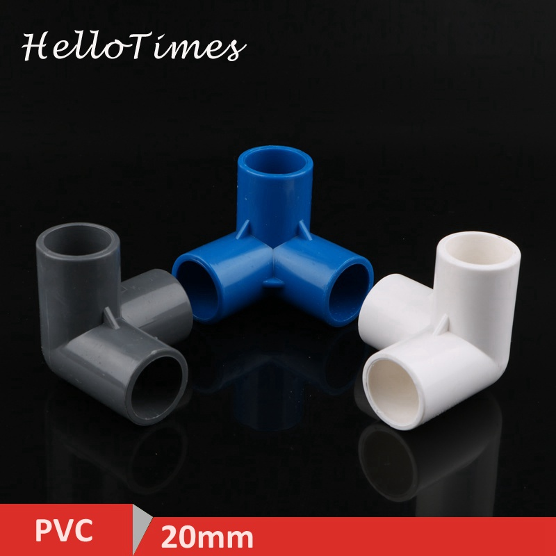 2pcs 20mm PVC Pipe Connector 3 Way Stereo Joints Three-dimensional Connector Water Pipe 3D DIY Joints image
