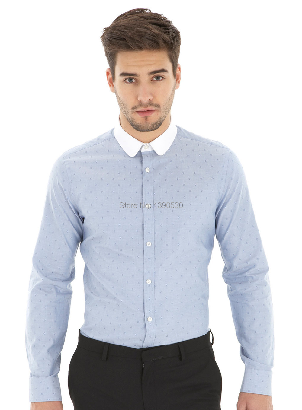 Popular White Round Collar Shirt for Men-Buy Cheap White Round ...