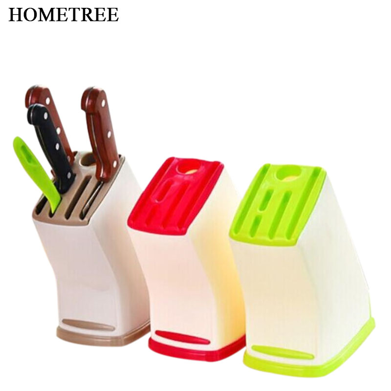 HOMETREE Plastic Multifunction Knife Storage Rack Kitchen Knife Block Holder Turret Shelf Drainer Box Knives Fork Organizer H255