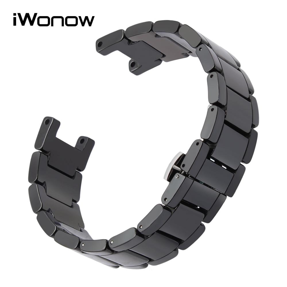 20mm x 12mm Ceramic Watchband for Cartier Pasha Gucci Concave Watch Band Steel Butterfly Buckle Strap Wrist Belt Bracelet Black футболка dc concave black