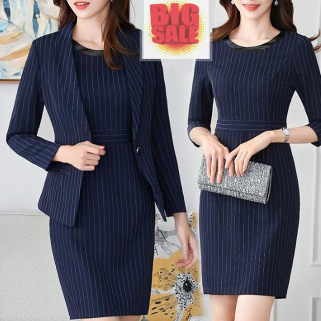 552b3c232e5 2019 Women Striped Office Lady Dress Suits Two Piece Sets Elegant Work  Business Jacket Blazer Stylish