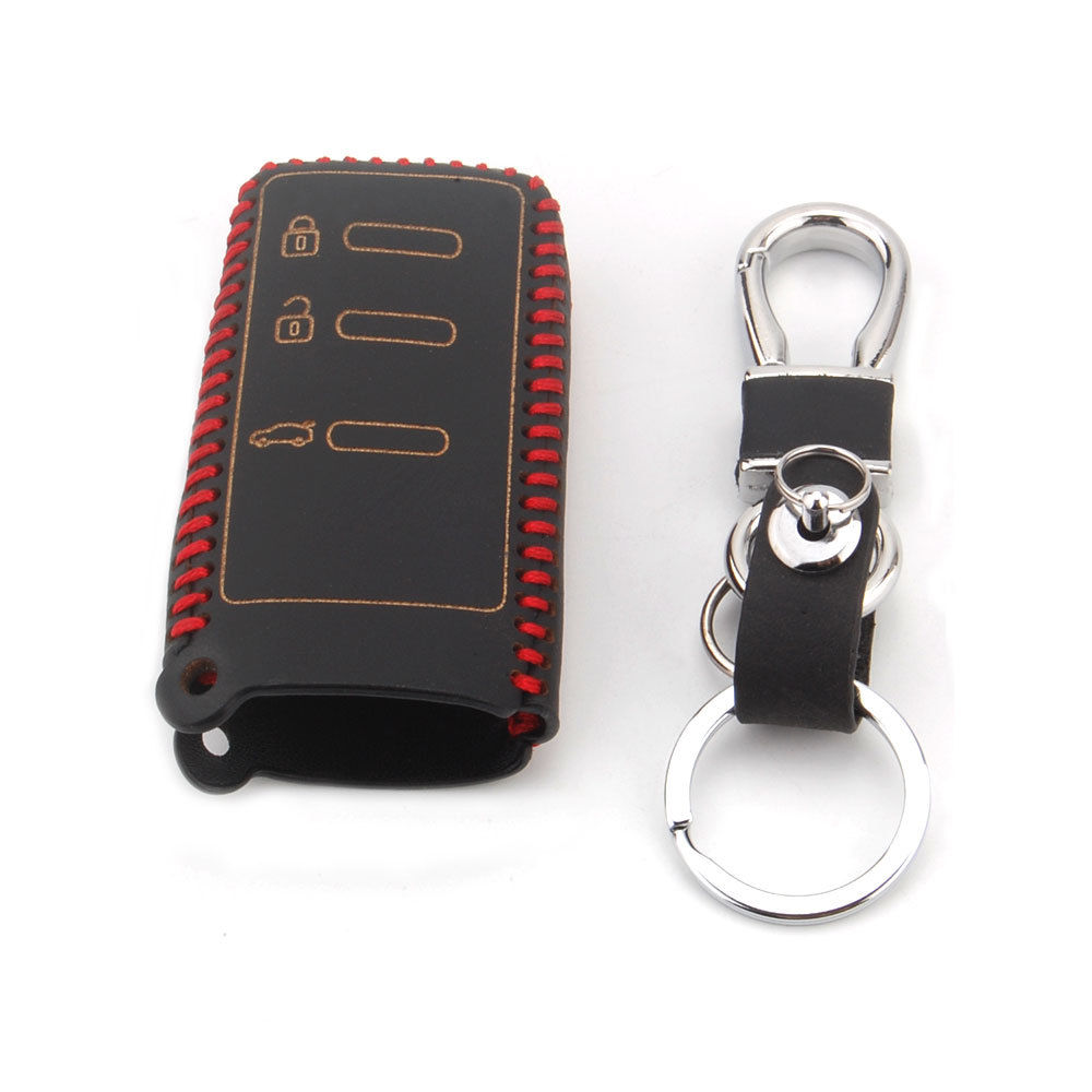 BBQ@FUKA 3BTS Remote Fob Case Remote Key Shell Holder With Leather Keychain Keyring For Subaru Forester Impreza Legacy
