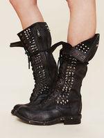US4 11 в стиле панк из натуральной кожи до колена Заклепки Шпильки сапоги двигателя черные туфли на шнуровке до середины икры ковбойские ботин