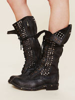 US4 11 Womens Punk Real Leather Knee High Rivet Studs Boots Motor Black Lace Up Shoes Mid Calf Cowboy Shoes