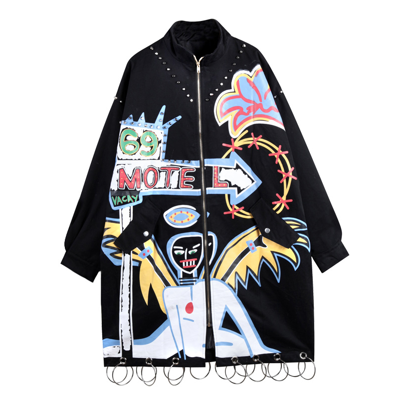 2019 Fashion Brand Graffiti Rivets Women Long Jacket Coat Punk Style Plus Size Women Bomber Jacket