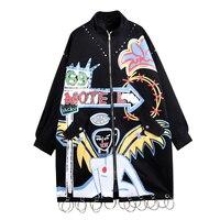 2017 Fashion Brand Graffiti Rivets Women Long Jacket Coat Punk Style Plus Size Women Bomber Jacket Coat Oversize Long Coat
