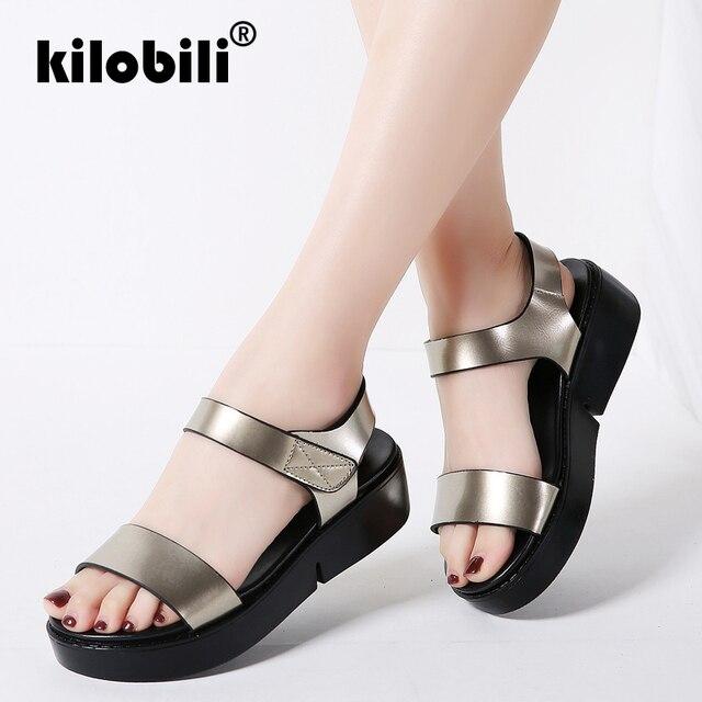 d10268a67f999 kilobili Summer 2019 Leather Flats Sandals Women shoes Silver Ankle Strap  Bling Black Gold Platform Sandals Female Footwear