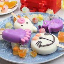 купить Ice Cream mould with lid 50 Free popsicle sticks  Home DIY Food grade Silicone material Lovely cartoon type powder mocha flavor дешево