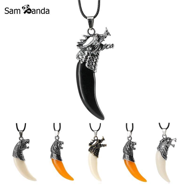 031b56e53234 Detalle Comentarios Preguntas sobre Hombres antiguos Lobo colmillo diente  colgante collar Vintage aleación del dragón del diente del lobo del collar  ...