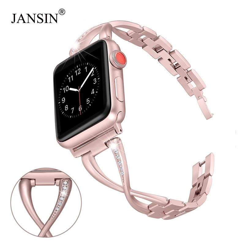JANSIN Faixas de Relógio Women Watch band para Apple 38mm/42mm/40mm 44mm diamante Inoxidável cinta de aço para a série iwatch 4 3 2 Pulseira