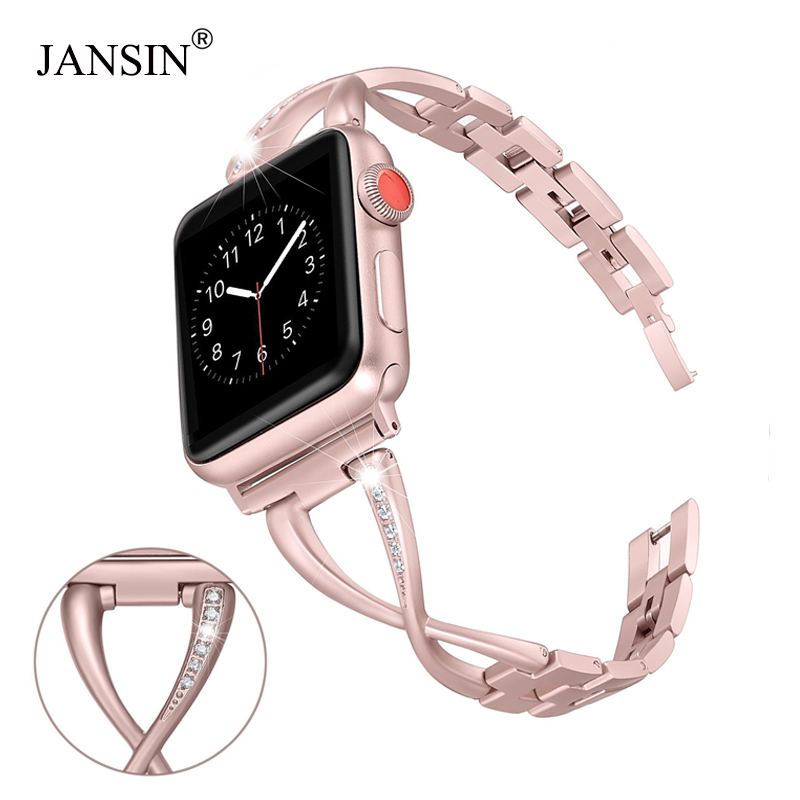 JANSIN Women Watch band for Apple Watch Bands 38mm/42mm/40mm/44mm diamond Stainless Steel Strap