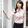 2014 Fashion new women shirt formal woman blouse long-sleeve shirt top female slim work wear pink,blue,white S,M,L,XL,XXL