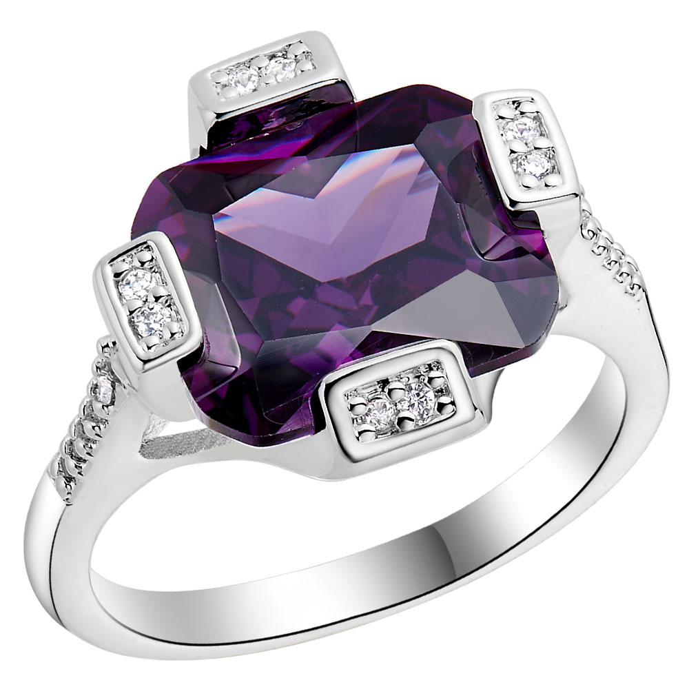 2016 Cheap Silver Rings For Wedding Square Engagement Gift Paved Cz Nice  Big Jewellery Wholesale Hot