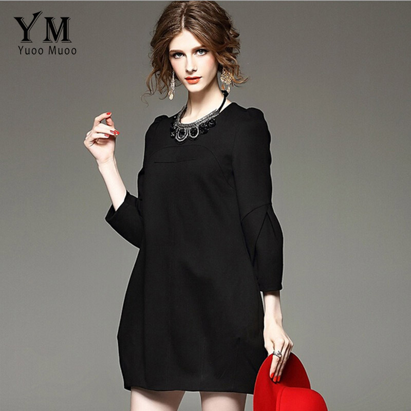 YuooMuoo Brand Design Autumn Dress Women Plus Size High Quality Red Black  Dress Elegant European Fashion Party Dresses Outwear