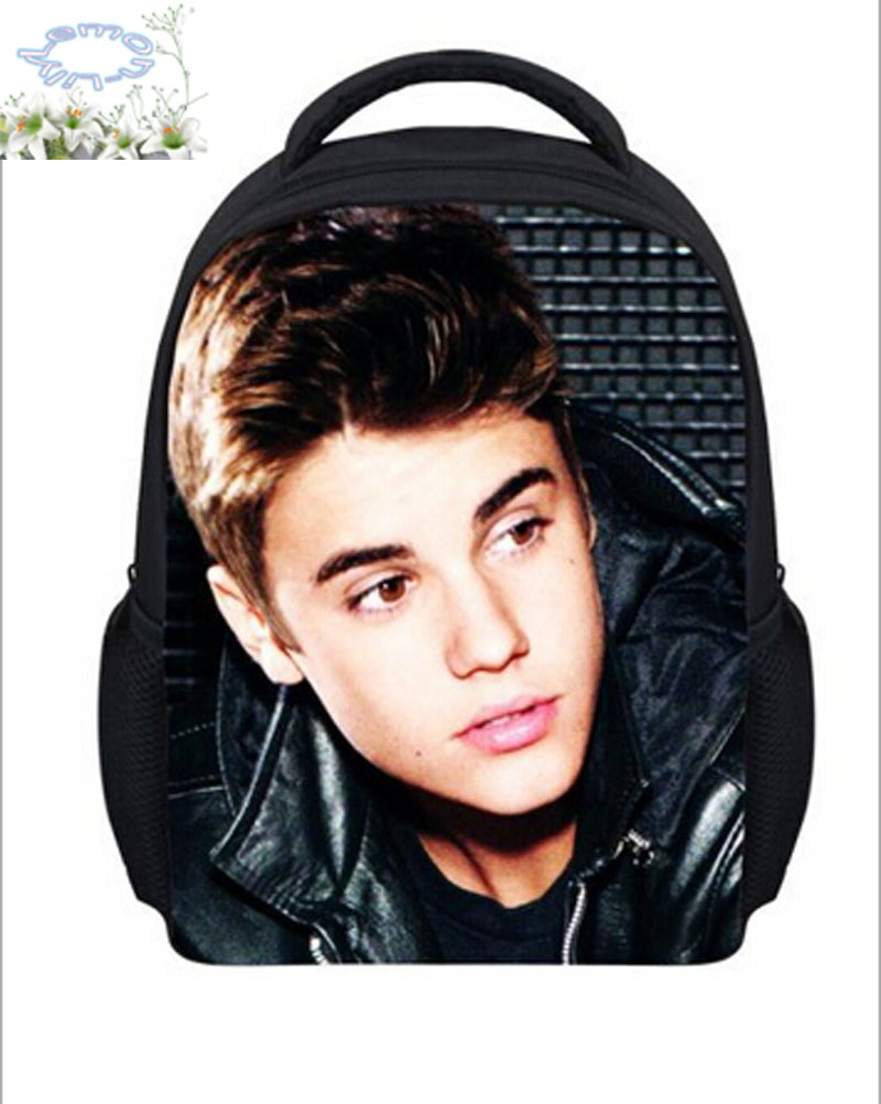 2016 New Arrives Backpack Children Student Justin Bieber Printed 3d Schoolbag Girls Mochila Gift Kids Free Shipping B040