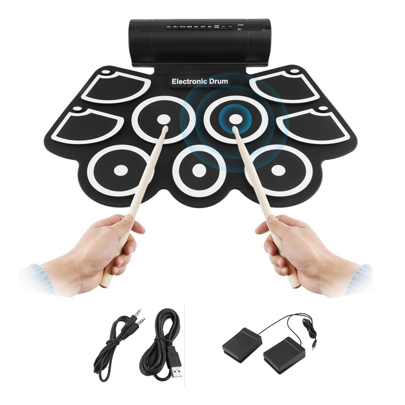 TSAI Portable Electronics Roll Up Drum Pad Set 9Silicon Pads Built-in Speakers with Drumsticks Foot Pedals USB 3.5mm Audio CableTSAI Portable Electronics Roll Up Drum Pad Set 9Silicon Pads Built-in Speakers with Drumsticks Foot Pedals USB 3.5mm Audio Cable