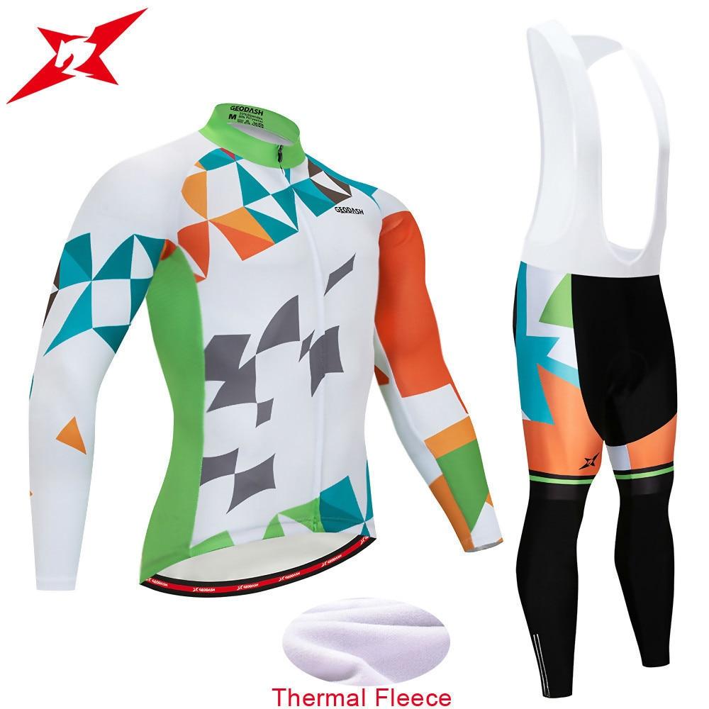 GEODASH High Quality 2019 Winter Cycling Clothing Thermal Fleece Cycling  Jersey Man GEL Pad Cycling Uniform 18abae4dc