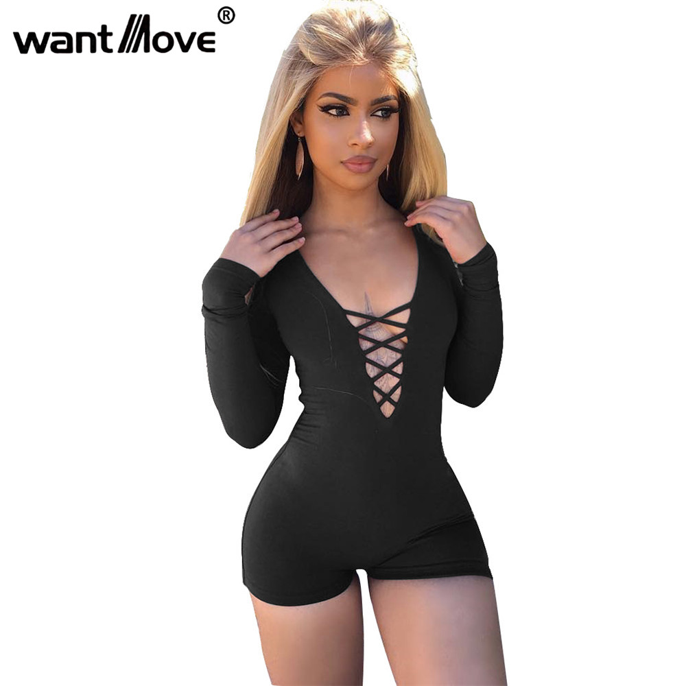 a3d6a4ede80 Wantmove 5 Colors 2018 Summer Rompers Womens Jumpsuit Sexy Front Lace Up  Bodycon Short Jumpsuit Bodysuit Slim Romper XD955-in Rompers from Women s  Clothing ...