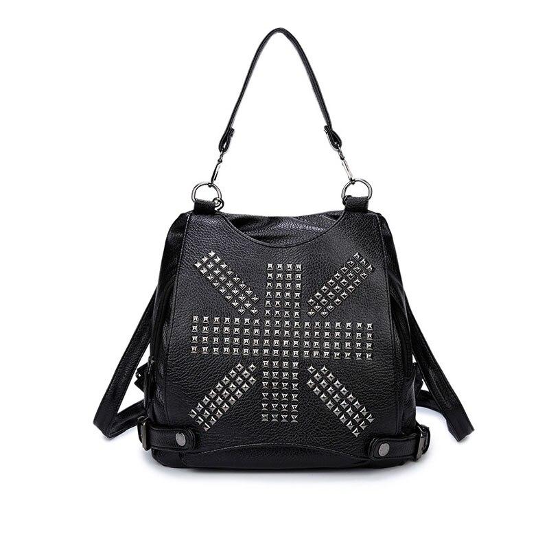 2017 Korean version of rivets boutique PU shoulder bag girl fashion embossed school lady multi purpose