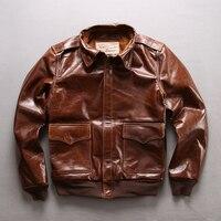 Read Description Asian Size Air Force Flight A1 Pilot Leather Cowhide Jacket High Quality Genuine Cow