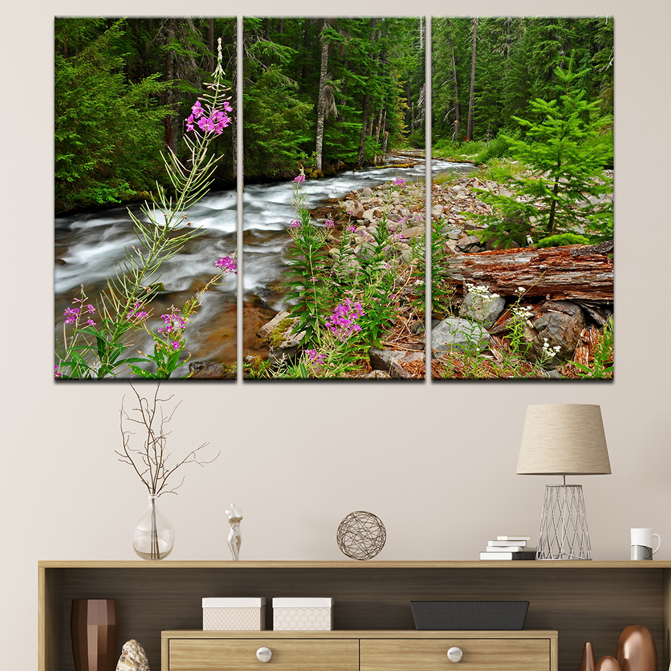 Wall Art Pictures Home Decor Posters Frame Living Room 3 Pieces Forest River Falls Natur ...