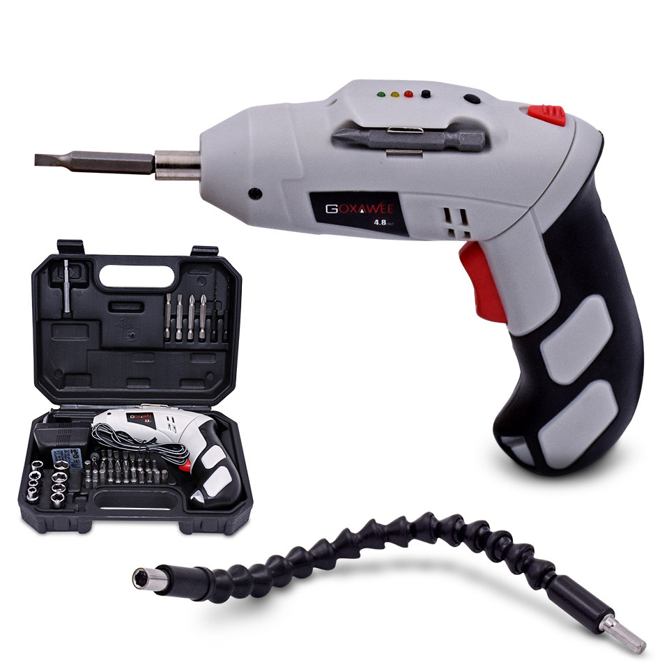 цена на 46pcs Multifunction Electric Screwdriver Rechargeable Screwdriver Machine 4.8V Battery of household Electric Drill