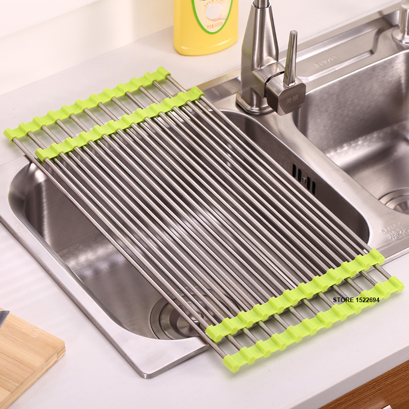 Buy 3 colors kitchen roll up dish drying rack over the sink stainless steel - Kitchen sink drying rack ...
