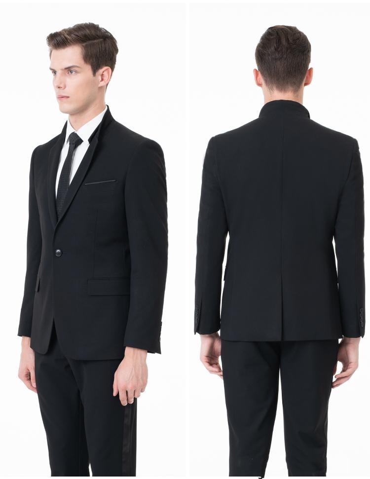 2019 Newest Slim Fit Groom Tuxedos Groomsmen One Button Black Side Vent Wedding Best Man Suit Men's Suits(Jacket+Pants) Terno