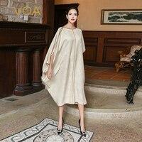 VOA Плюс Размер Свободный Шелковый мусульманский халат платье хиджаб бежевый Летучая мышь с коротким рукавом повседневные женские Асимметр