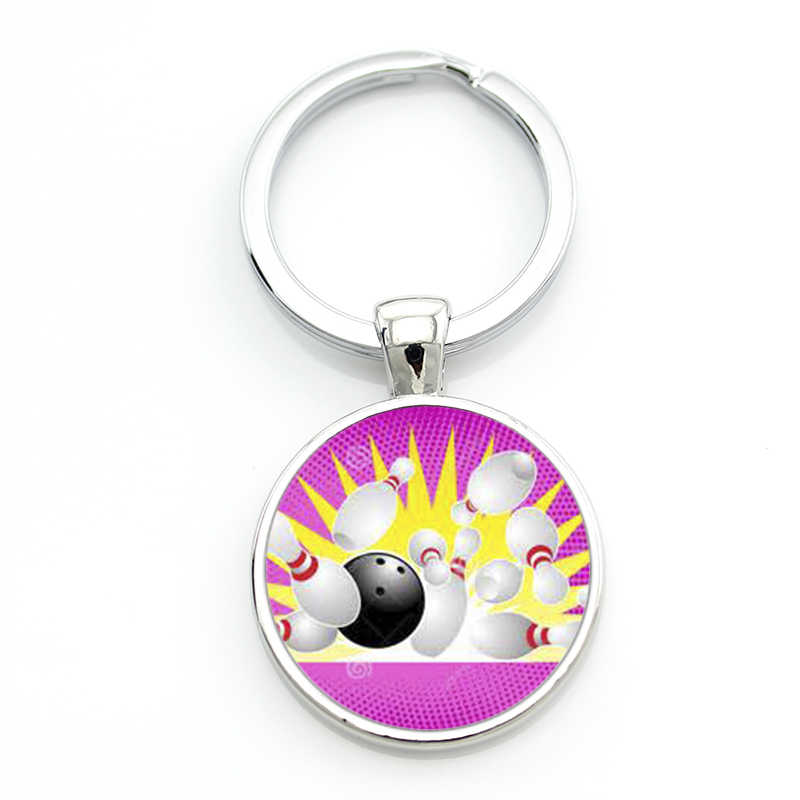 TAFREE exquisite popular bowling ball art picture glass gem keychain casual sports style men women key chain ring jewelry SP881