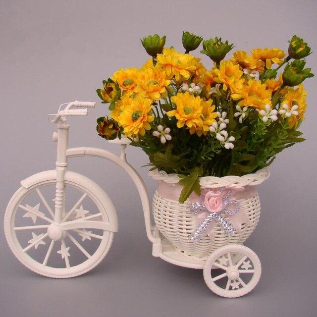 Zakka Rattan Triciclo Bicicleta cesta de vime flutua vasos vaso de flor recipientes decorativos para Flor artificial decoração da casa